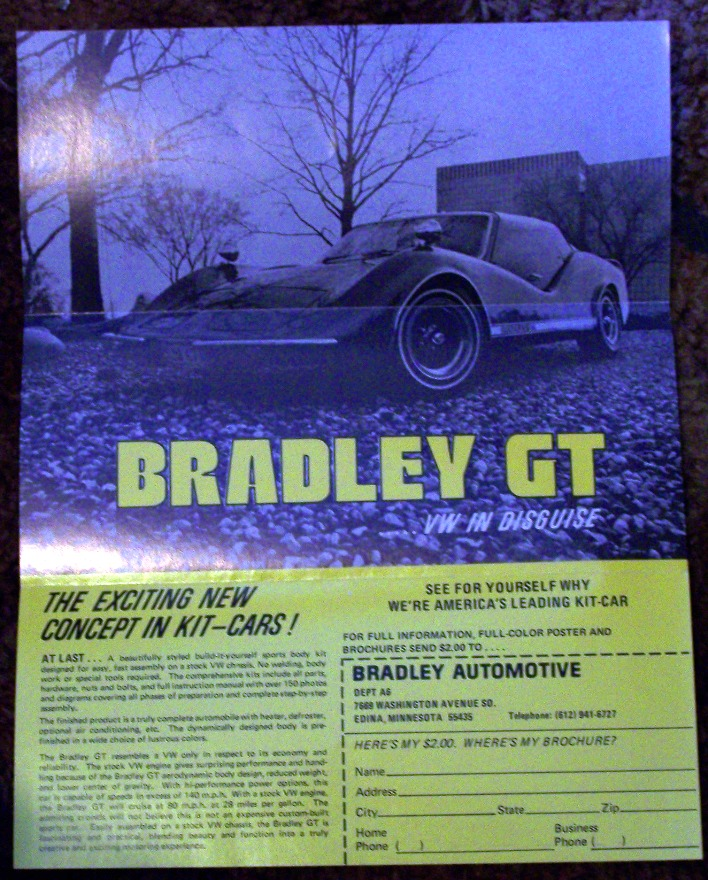 1975 Bradley GT http://www.ebay.com/itm/1975-Bradley-GT-Build-Your-Own-Sports-Car-Brochure-/230648997571